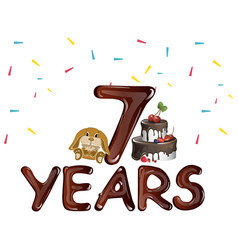seventh birthday with toy and cake vector image