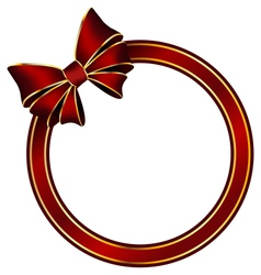 Red frame ring with silk bow vector