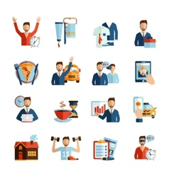 Man daily routine icons vector