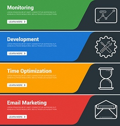 Flat design concept set of web banners monitoring vector