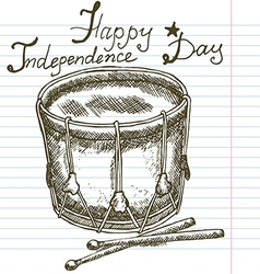 Hand drawn sketch drum text happy independence day vector
