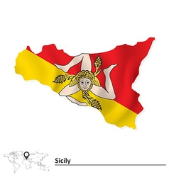 Map of sicily with flag vector