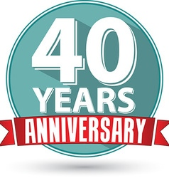 Flat design 40 years anniversary label with red vector