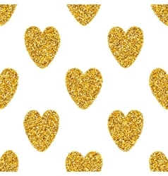 Seamless Background With Golden Hearts vector image