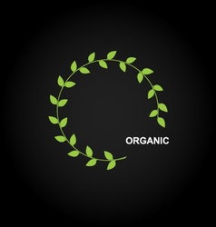 Organic product logo design with green leafs vector