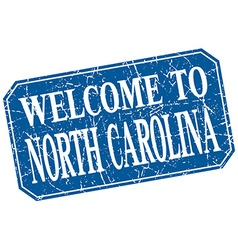 Welcome to north carolina blue square grunge stamp vector