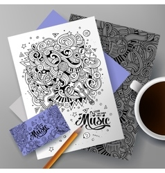 Cartoon hand-drawn doodles musical identity vector