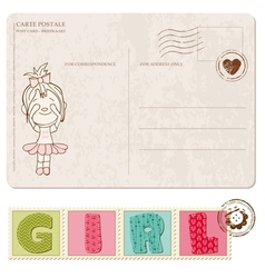 Baby girl arrival postcard with set of stamps vector