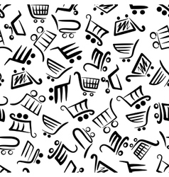 Black and white seamless pattern of shopping carts vector image vector image