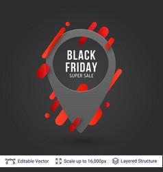 Black friday super sale location pin icon vector