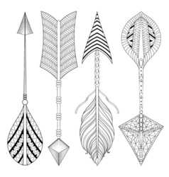 Boho chic ethnic arrow set with feathers freedom vector