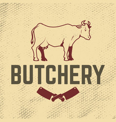 Butchery cow on grunge background meat cleaver vector