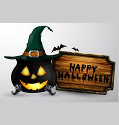Cartoon halloween witchs cauldron vector