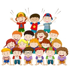 Children playing human pyramid vector image vector image