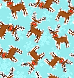 Christmas reindeer patch icon pattern background vector image vector image