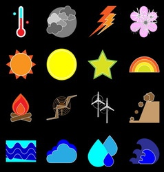 Climate icons on black background vector