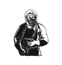 Emt wearing hazmat suit scratchboard vector