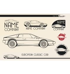 European classic sports car silhouettes logo vector image