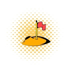 Flag on the moon icon comics style vector