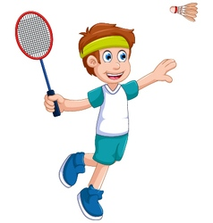 funny boy cartoon playing badminton vector image vector image