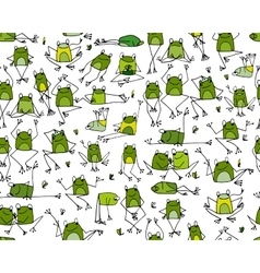 Funny frogs pattern sketch for your design vector image vector image