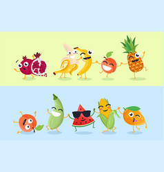 Funny fruit and vegetables - set of cartoon vector