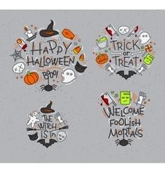 Halloween flat monograms gray vector