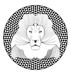 Lion head patterned symmetric animal drawing on vector