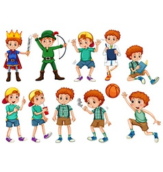 Little boy in different costumes vector