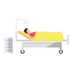 Patient lying on medical bed with wheels on white vector