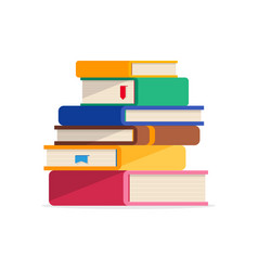 pile of books in a flat style isolated vector image