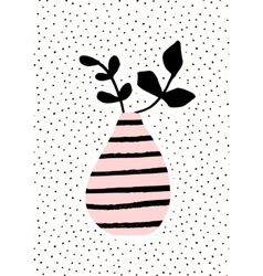Pink Vase with Branches vector image