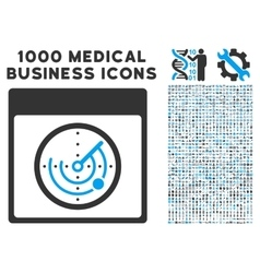 Radar calendar page icon with 1000 medical vector