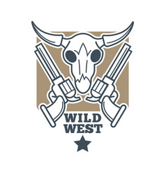 revolvers and skull emblem vector image