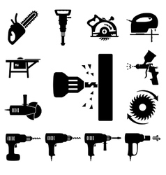 Set icons of tools vector image