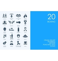 Set of blue hamster library boxing icons vector
