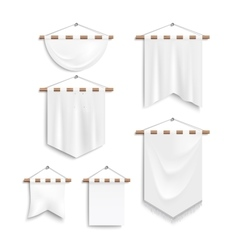 Set of realistic white textile banners vector