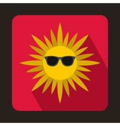 Sun in glasses icon flat style vector image