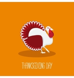 Thanksgiving card with bright turkey in fla style vector image vector image