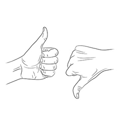 thumb up thumb down outline contour vector image