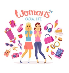 Two young girls with many items on white vector