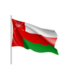 waving flag of sultanate of oman vector image vector image