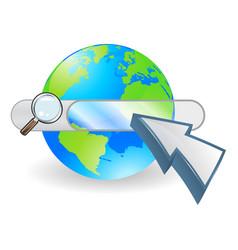web globe seach bar concept vector image vector image