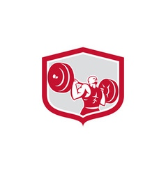 Weightlifter Lifting Barbell Shield Retro vector image