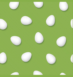 White easter eggs on grenery pinstripe background vector