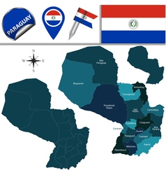 Paraguay map with named divisions vector