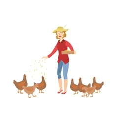 Woman feeding the chickens vector