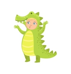Boy wearing crocodile animal costume vector