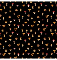 Mushrooms seamless texture with autumn patternon vector