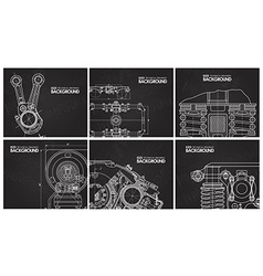 Set of black background with technical drawings vector image